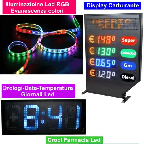 Display Led - Croci led Farmacia -Orologi Data Temperatura Led